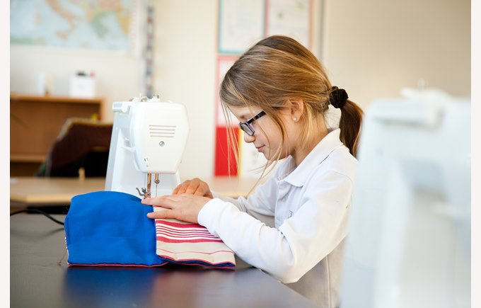 Student sewing