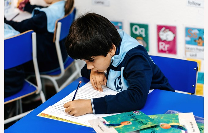 Homework ICS Primary student working first grade