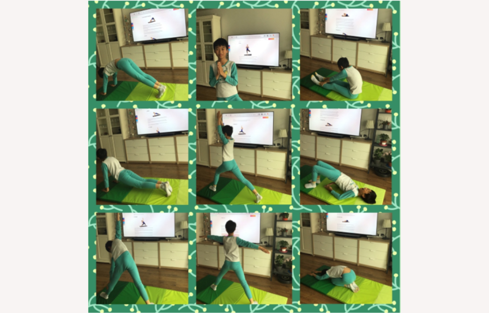 Yoga routine VSE PHE Primary student mat stretch bend
