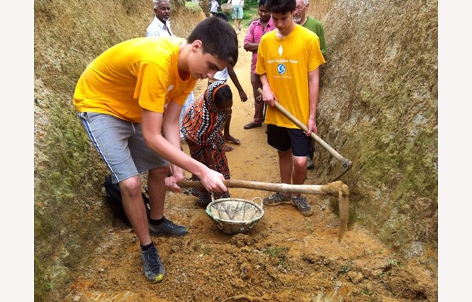 ICS Students helping to build the foundations of the school in Bangladesh