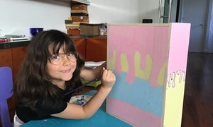 Primary student painting at home virtual learning school closure 2020