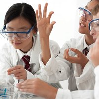 Korean students in chemistry lab