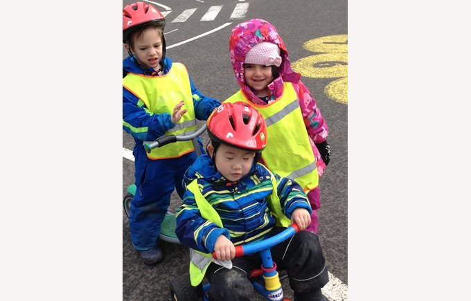 children biking