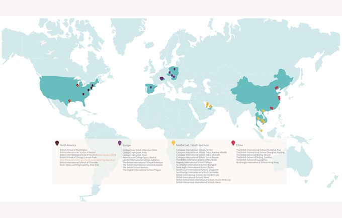 Map of NAE Schools in the World