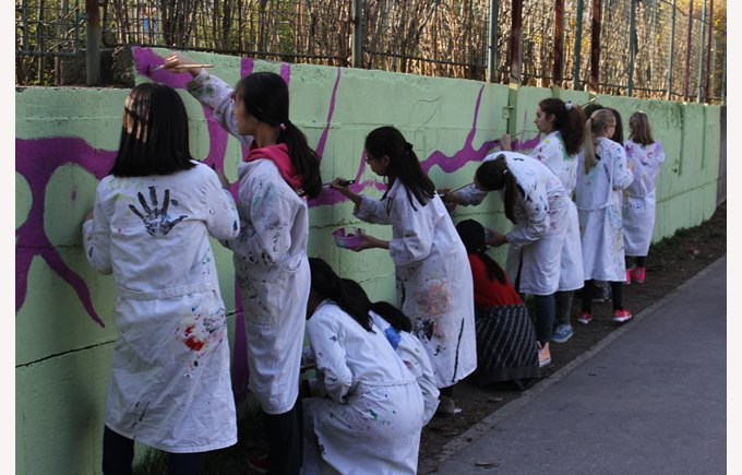 Girls painting school