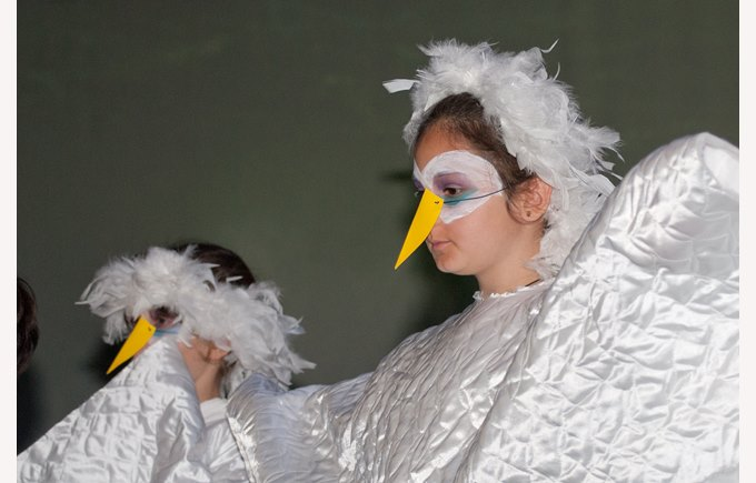 Students in a theater show