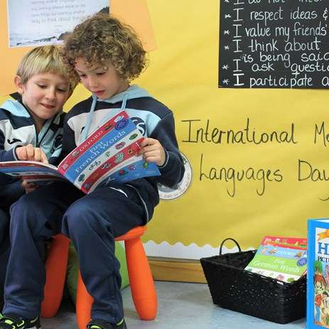 Mother Tongue Language Day Celebrations 2020 Two Primary students reading Hebrew