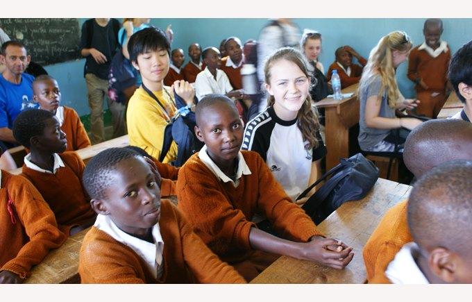 ICS students with pupils from the village school in Tanzania