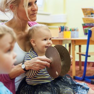 Teacher with children