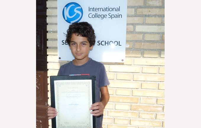 Worldwide math competition winner Salar Ravangouy ICS Madrid
