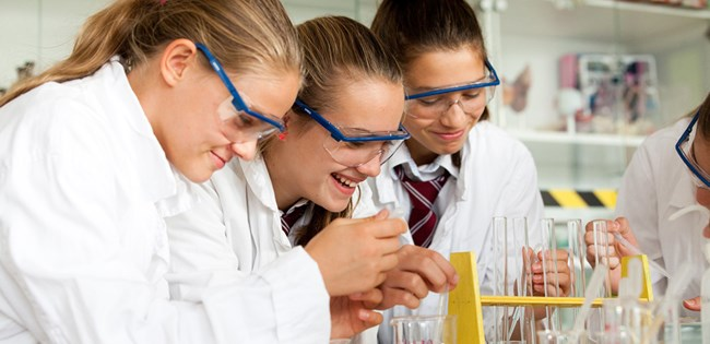 Girls working in the lab