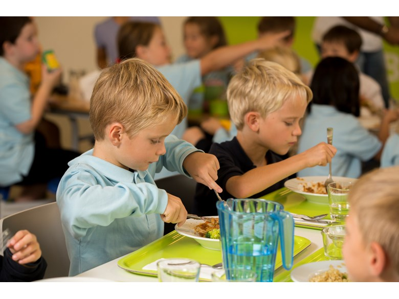 Primary boy students at lunch