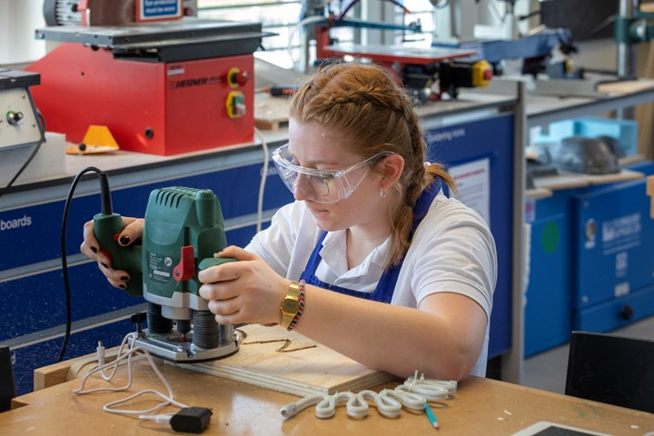 Secondary student working on wood in Design Technology