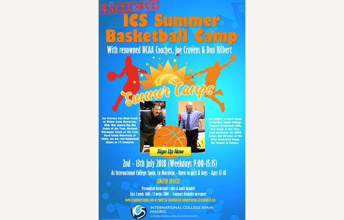 ICS Summer Camps Campamentos de Verano Basketball Camp poster