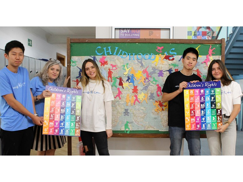 World Children's Day at ICS student council 2019 with children's rights poster