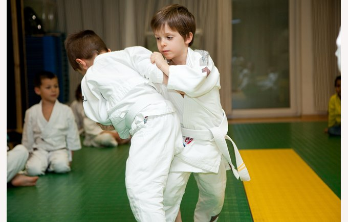 Students doing judo
