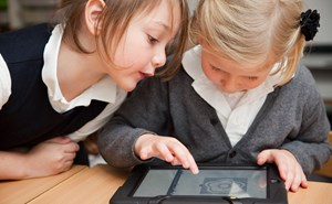 Two Year 1 girls using an iPad