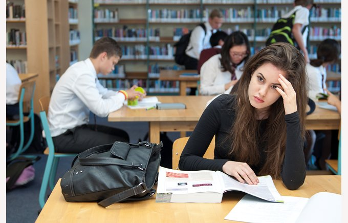 ib students in the library