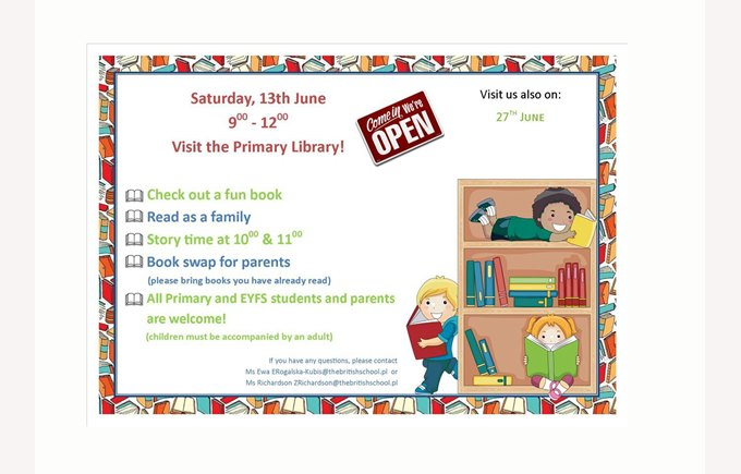 Library poster 13 June