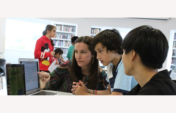 Secondary English library computer students ICS virtual school