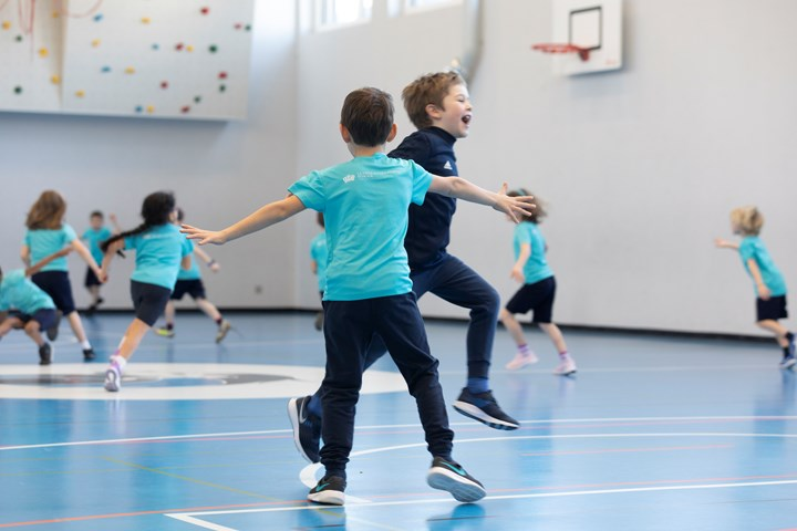 Primary students in the sports hall