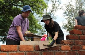 Building the walls of the school in Tanzania