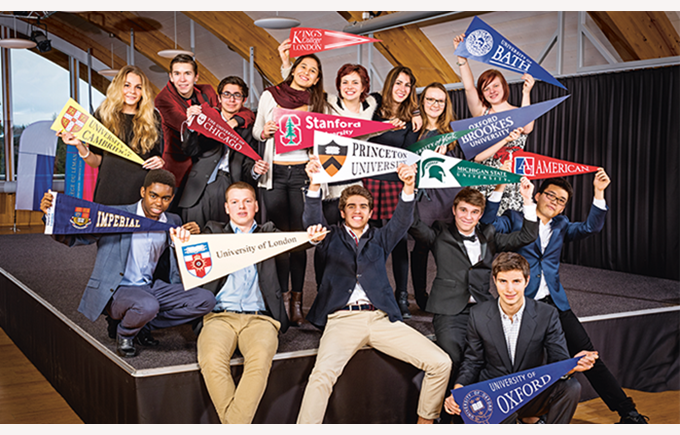 Students with different university flags
