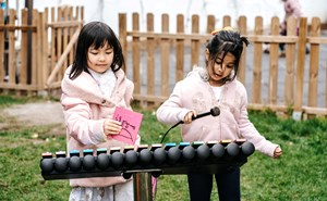 A truly international school primary students xylophone outside