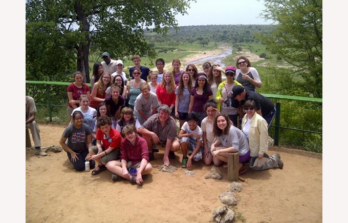 Students on the service learning trip in Africa
