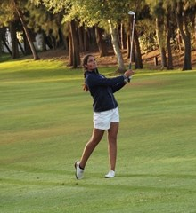 Amateur golfer Carolina López-Chacarra swinging golf club