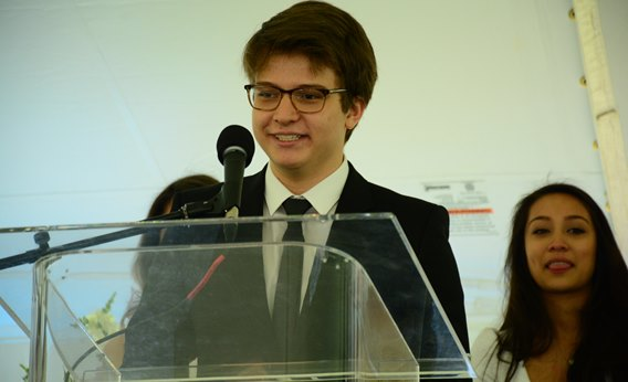 JP Santos speaks at the British International School of Boston graduation in June 2015.