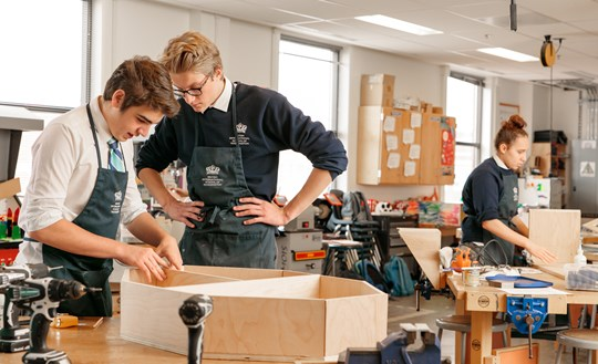 IGCSE students work on their final projects in their Design Technology class.