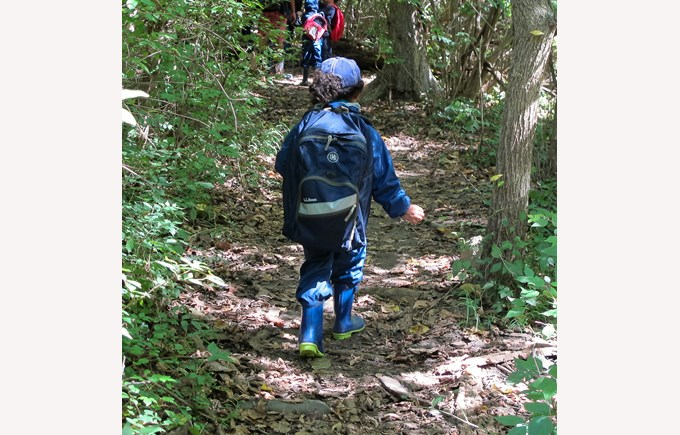 BISW Private British International School of Washington in DC Excited primary elementary students take a walk in the woods