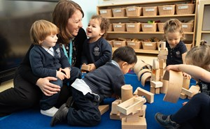 BISB Toddler Students Playing with Blocks