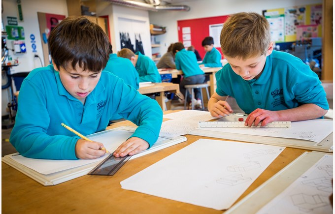 BISW Private British International School of Washington in DC primary students sketching and drafting great work