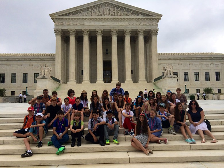 A group of students stand in front of the Library of Congress