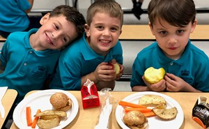 BISW Private British International School of Washington in DC Great Kindergarten students enjoy lunch from Flik