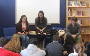 A group of alumni from the Class of 2015 visited with our Boston high school students this week.