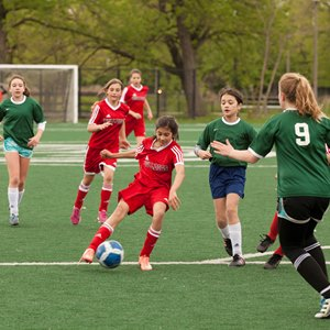 girls playing soccer at the British International School of Chicago, Lincoln Park