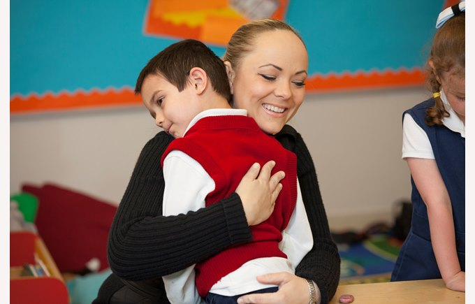 Parent boy ks1 hug