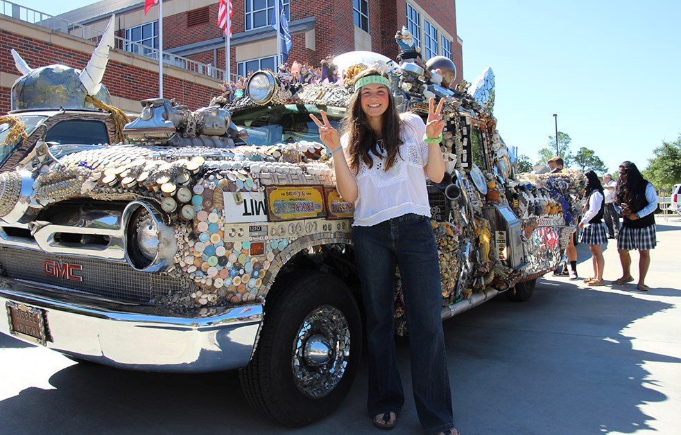 Students enjoy celebrating Houston's Art Car Parade, and even participate by building a Village School Art Car.