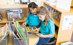 Year 3 girls in the Library