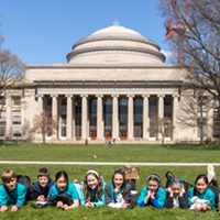 Nord Anglia Education in front of a building at MIT