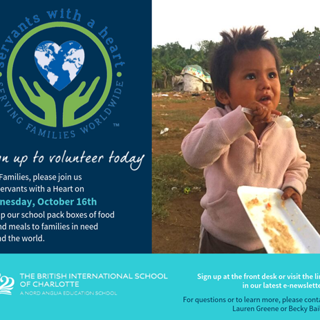 Join BISC on Wednesday, October 16, as part of our effort to feed hungry children across the world and within our community.
