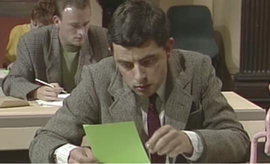Mr. Bean sitting an exam