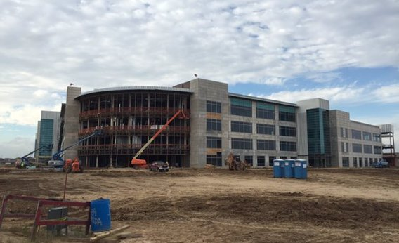 Image of the new campus building under construction