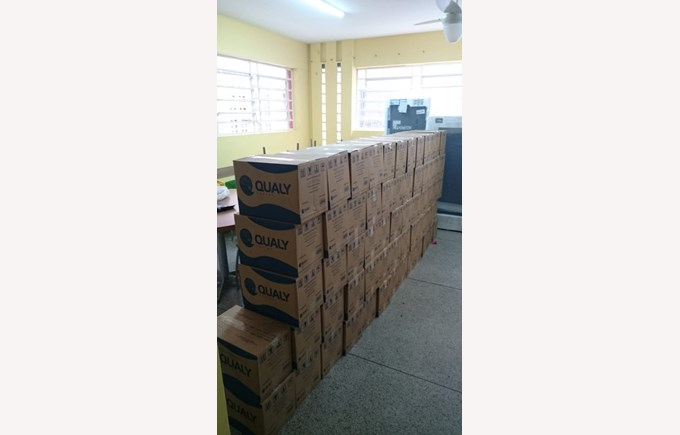 "Food baskets distributed to ""Casa da Crianca"" in March 2020."