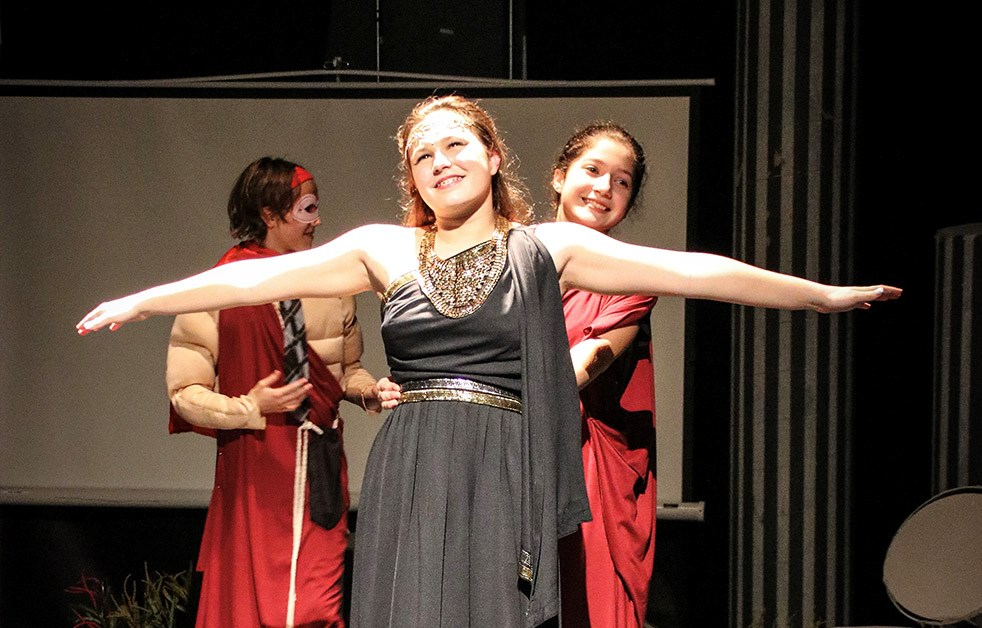 "Middle schoolers perform ""Greek Olympiaganza"""