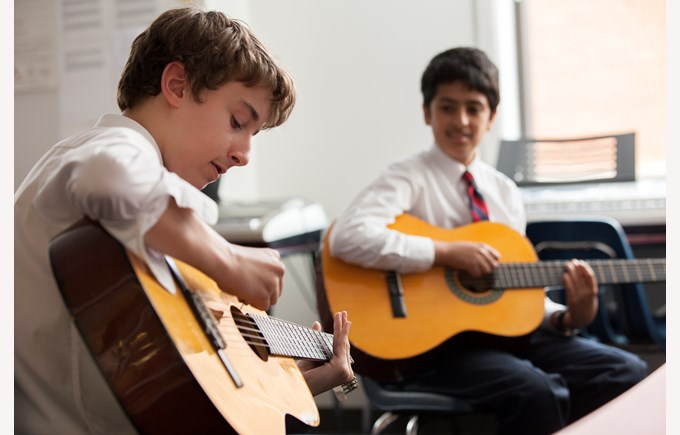 BISW Private British International School of Washington in DC students playing and learning music room