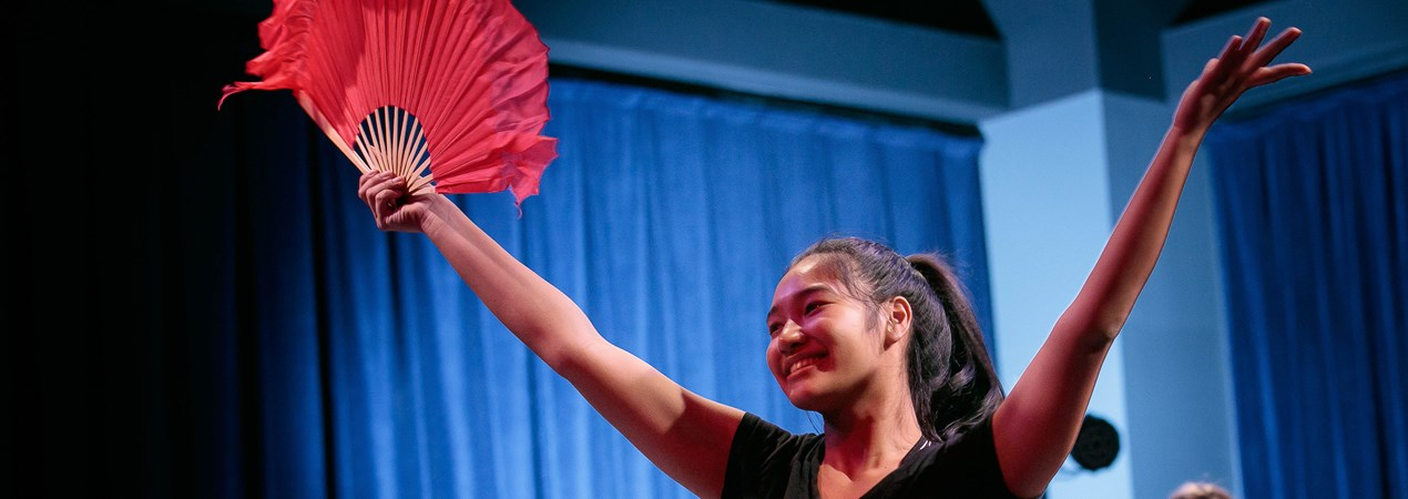 Juilliard world stage 2 girl performing with fan